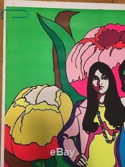 Vintage Black Light Poster Sonny & Cher Chereskin Dear Love Corp 1971 Man Woman