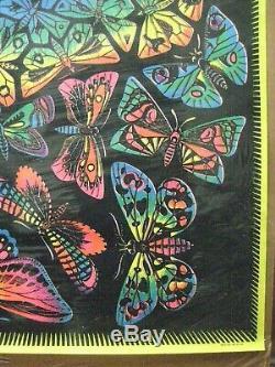 Vintage Black Light Poster butterfly LOVE 1970's Psychedelic Inv#G4760
