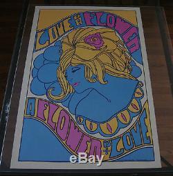 Vintage Black Light Psychedelic Poster Pandora Love is a Flower Myers Johansen