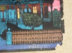 Vintage Black Light Velvet Poster Haunted Mansion Western Graphics Halloween