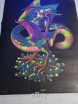Vintage Blacklight Dragon Poster NOS Rare 1960's by MC Escher Silk Screen