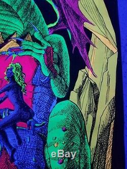 Vintage Blacklight Hippie Poster Dragon Lady Nude Funky Features 1970 NOS
