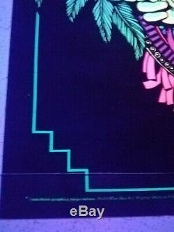 Vintage Blacklight Poster 1970s Mayan Priest Rare Velvet Trippy Psychedelic