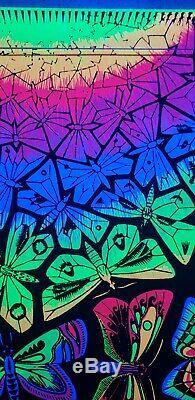 Vintage Blacklight Poster Butterflies MC Escher Original NOS Rare Silk Screened