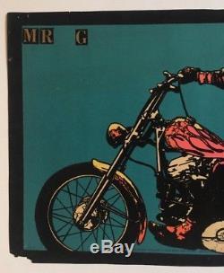 Vintage Blacklight Poster Dennis Hopper Middle Finger 1970 Motorcycle Pin-up