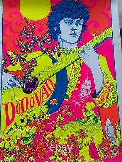 Vintage Blacklight Poster Donovan Psychedelic 1968