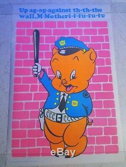 Vintage Blacklight Poster Porky Pig Cop 1972 Rare Police Funny Original NOS