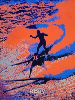 Vintage Blacklight hippie fluorescent poster rare surf's up 1970s surfer surfing