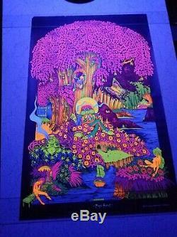 Vintage Blacklight hippie poster rare Magic Forest 1971 Saladin Petagno LA