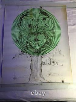 Vintage Bob O P Dylan Tree 1960's Original Blacklight Poster 22x28 Very Rare