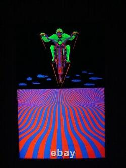 Vintage DREAM CYCLE blacklight poster Psychedelic motorcycle Dream Merchants NOS