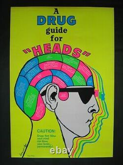Vintage DRUG GUIDE FOR HEADS blacklight poster Psychedelic sunglasses 1969 NOS