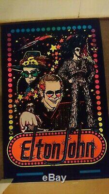 Vintage Elton John blacklight velvet poster from 1975