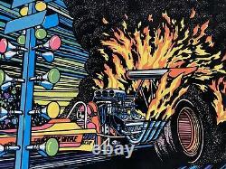 Vintage Fueler Drag Racing Black Light Felt Poster Western Graphics 31x21.5