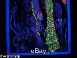 Vintage GYPSY GIRL blacklight poster hippie peace nude flag ORIGINAL FULL SIZED