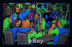 Vintage HAPPY TIMES Houston Blacklight poster Krueger Beer MINT RARE 1970 NOS