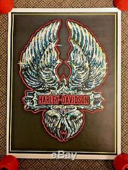 Vintage Harley Davidson Motorcycles Blacklight Poster Chrome Logo 1970s EI002