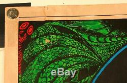 Vintage Iron Butterfly Black Light Poster Fair Condition 22 1/2 X 17 1/2