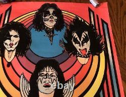 Vintage KISS 1976 AUCOIN POSTER Black Light Velvet 20 x 28 RARE POSTER