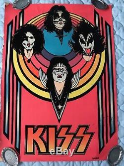 Vintage KISS 1976 Black Light Poster