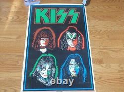 Vintage KISS 1992 FOUR FACES BLACK LIGHT POSTER
