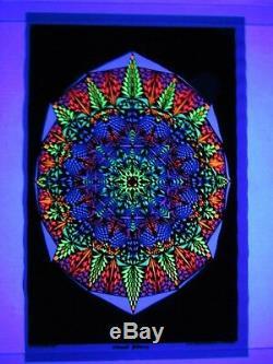 Vintage Kaleidoscope VISUAL FALLACY Psychedelic Blacklight Poster Velvet Flocked