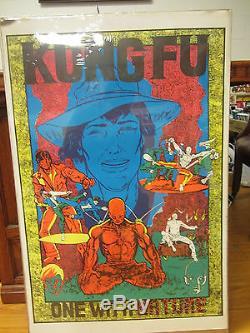 Vintage Kung Fu one with Nature Black light Poster orig unused 1970s 10710