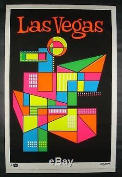 Vintage LAS VEGAS blacklight poster Mid Century Modern Artko 1967 travel NOS