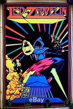 Vintage Led Zeppelin Reaper 1980 Black Light Poster Scorpio Enterprises New York