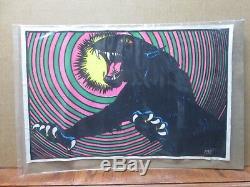 Vintage Mini Velvet Black Light Poster 1970's flocked 11x17 Black Panther In#G10