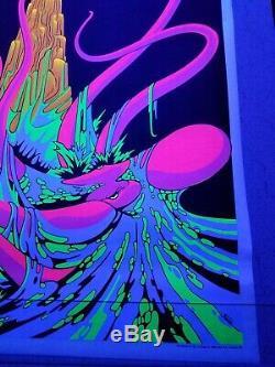 Vintage OCTOPUS Blacklight Poster Sea Monster Nude Ocean blue neon 1970 NOS