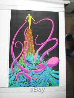 Vintage OCTOPUS Trippy Psychedelic Blacklight Poster KRAKEN Head Shop NOS