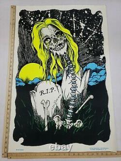 Vintage ORIGINAL 1997 Pushead Graveyard Bash Black Light Poster 23x35 RARE