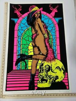 Vintage Original 1976 Blacklight Poster Cemetery #906 23x 35 Funky RARE
