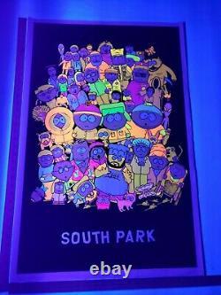 Vintage Original 1998 South Park Cast Black Light Flocked Poster Super Rare