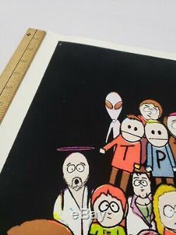 Vintage Original 1998 South Park Cast Blacklight Flocked Poster Super Rare