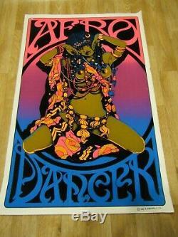 Vintage Original Afro Dancer BlackLight Poster 19780s Africa Nude Godess felt