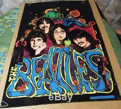 Vintage Original Beatles Velvet Blacklight Poster 1975