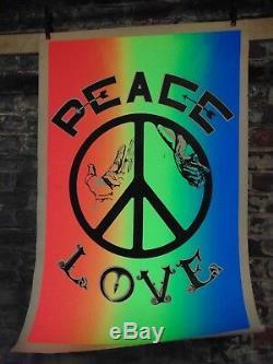 Vintage Peace & Love Black-light Hippie Anti War Poster