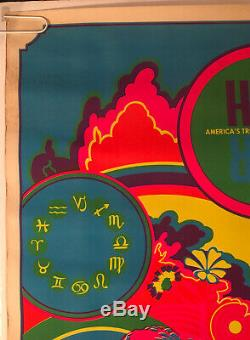 Vintage Poster Blacklight Poster Hair Love Rock Musical Psychedelic Rainbow 60s