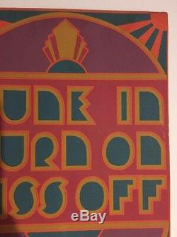 Vintage Poster Tune In Turn On Kiss Off 1960's Pin-up Headshop Hallmarkb 60's