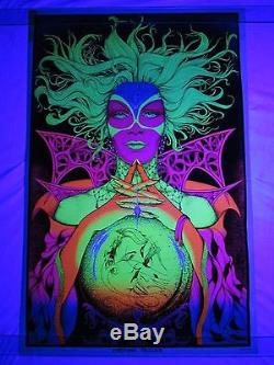 Vintage Psychedelic Blacklight Poster FORTUNE TELLER Gypsy Woman Bunnell 1971