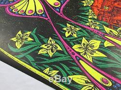 Vintage Psychedelic Blacklight Poster LUNAR MOTH Petagno Art Saladin Prod. 1971