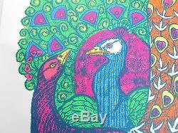 Vintage Psychedelic Blacklight Poster PEACOCK 1968 Le Roy Olson Artko Studio