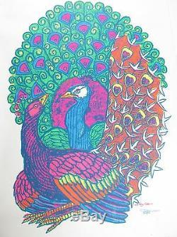 Vintage Psychedelic Blacklight Poster PEACOCK 1968 Le Roy Olson Artko Studio #2