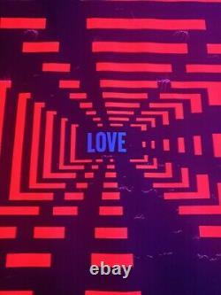 Vintage Psychedelic Blacklight Poster Trippy Hippie LOVE MAZE