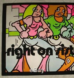 Vintage RIGHT ON SISTERS blacklight poster GIRL POWER Feminist Womens Lib NOS