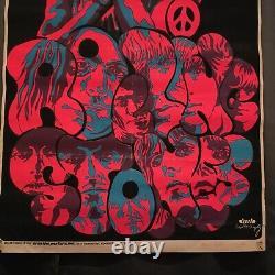 Vintage Rolling Stones Black Light Poster Not A Reprint Original