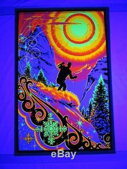 Vintage SUNRISE SKIER Psychedelic Blacklight Poster Russell AA Sales Snow Skiing