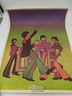 Vintage San Francisco Poster co The Beatles Yellow Submarine Black light poster